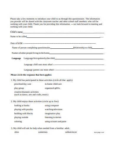 preschool parent survey questionnaire