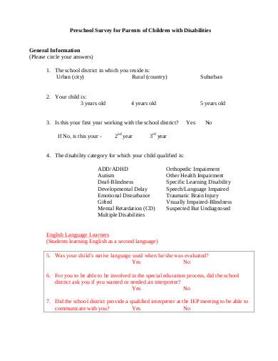 preschool survey for parents