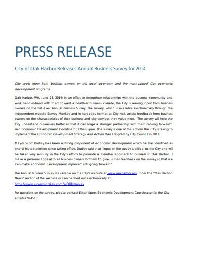 press release annual business survey template