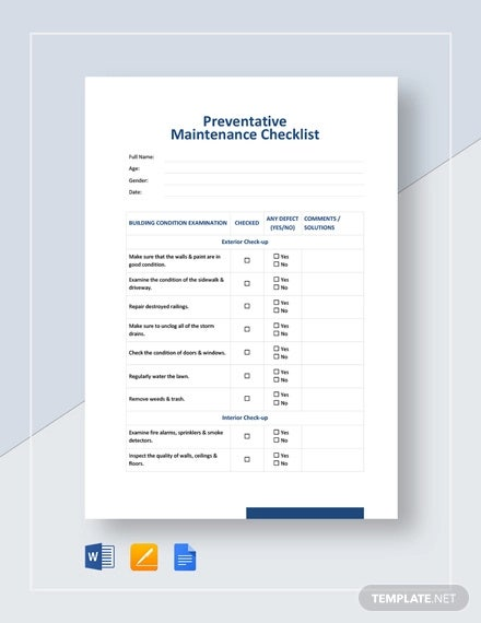 preventative maintenance checklist template1