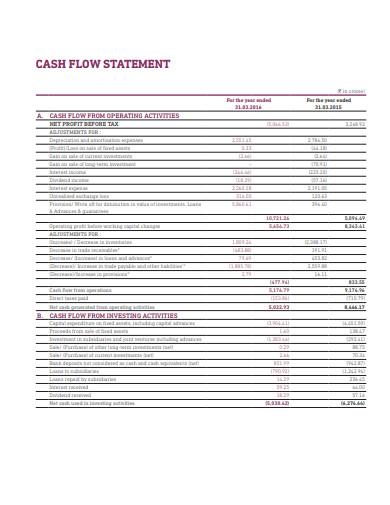 printable cash flow statement