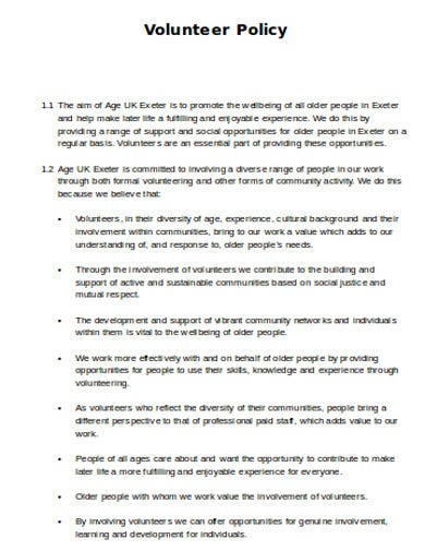 printable charity volunteer policy