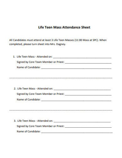 printable church attendance sheet