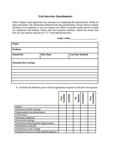 printable exit interview questionnaire