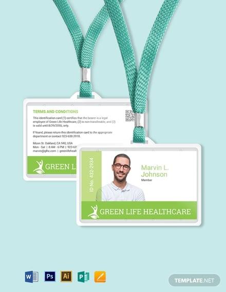 printable healthcare id card 1