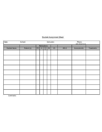 printable nursing student assignment sheet template