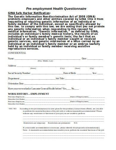 printable pre employment health questionnaire