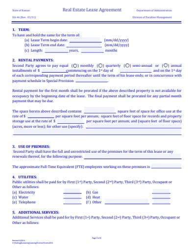 printable real estate lease agreement