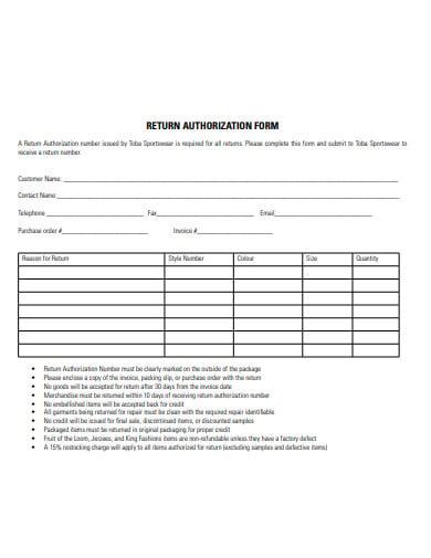 printable return authorization form example
