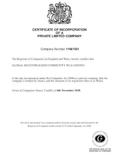 private company incorporation certificate template