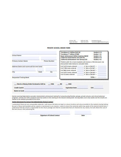 private school order form template