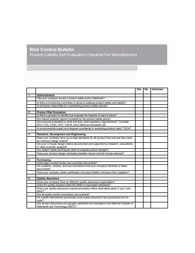 product liability self evaluation checklist template