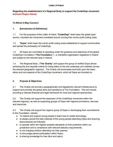 professional charity letter of intent template