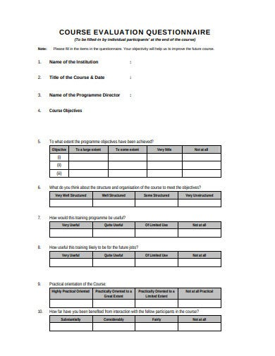 professional-course-evaluation-questionnaire-template