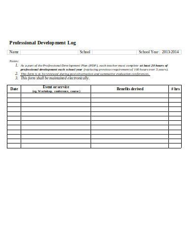 professional development log example