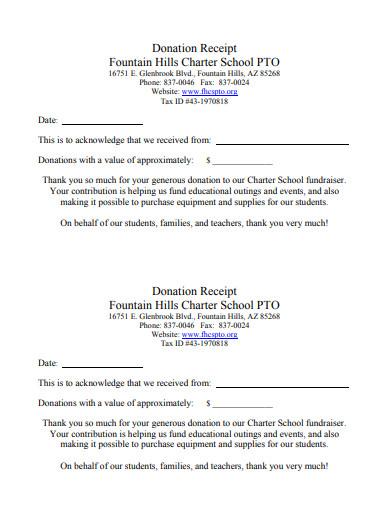 professional donation receipt letter
