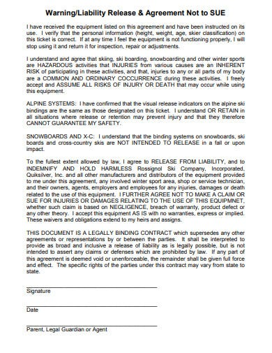 professional liability release agreement template