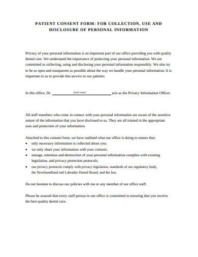 professional patient consent form template