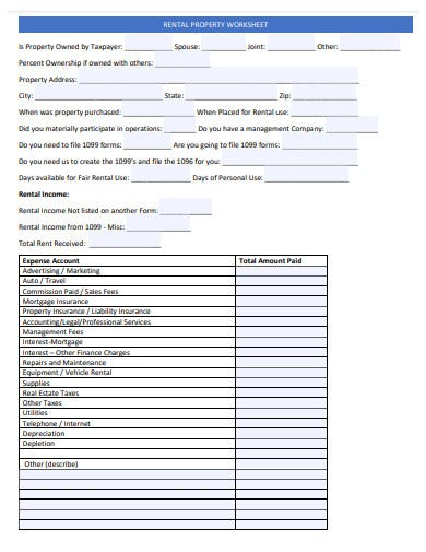 professional rental property worksheet template