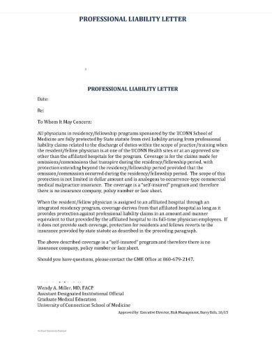 professional liability letter
