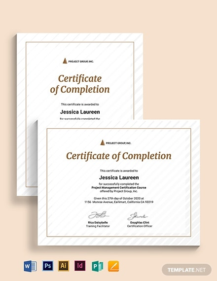 project management certificate template 2