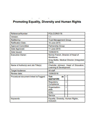 promoting equality diversity and human rights