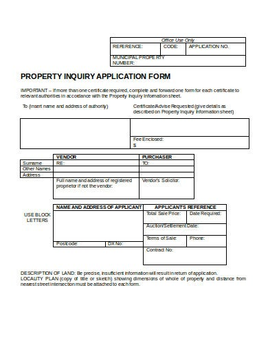 property application inquiry form template