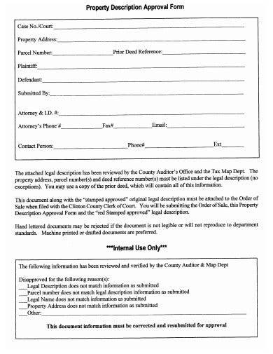 property description approval form example