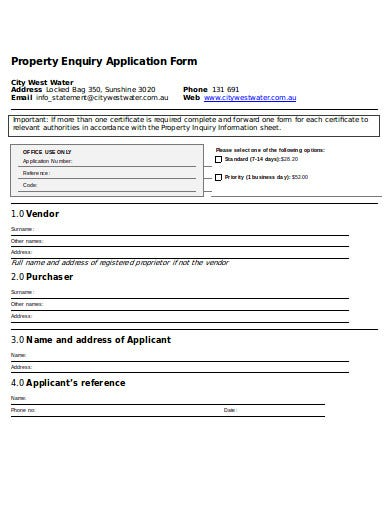 property enquiry application form template