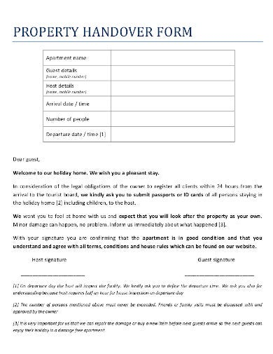 property handover form
