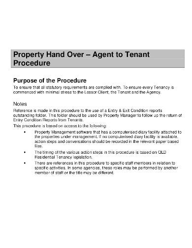 property handover template