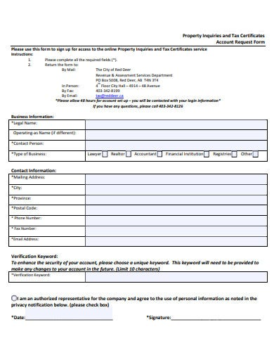 property inquiry account request form template