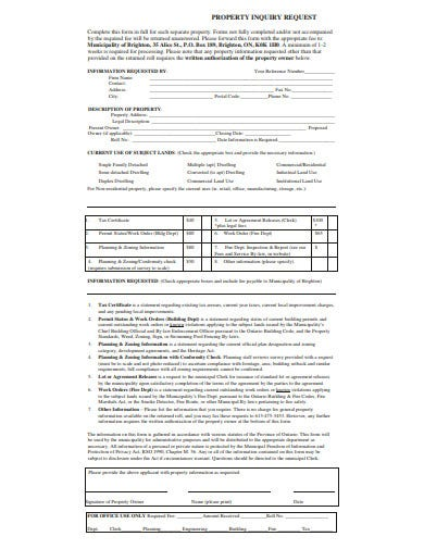 property inquiry request form template