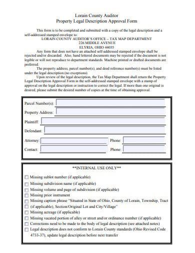 property legal description form