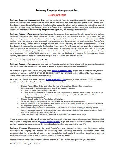 property management announcement letter template