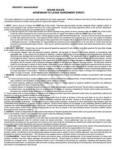 property management house lease agreement