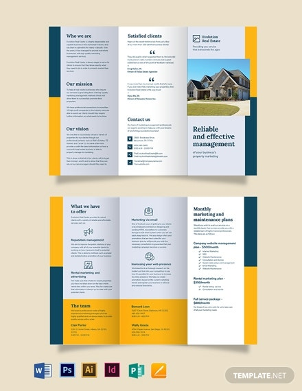 property management marketing tri fold brochure