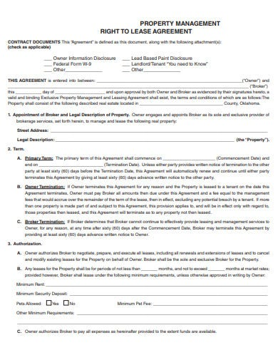 property management right to lease agreement