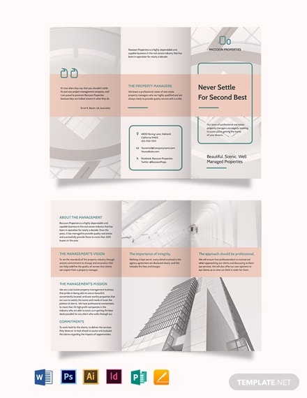 property management tri fold brochure template