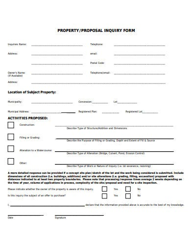 property proposal inquiry form template