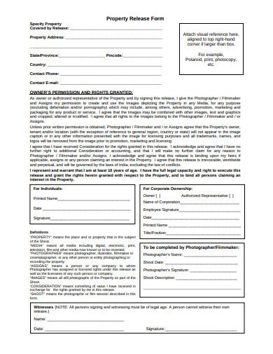 property release form example template