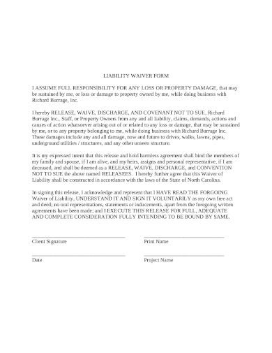 property release of liability waiver form