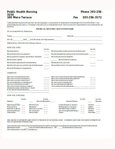 public health medical history questionnaire for template