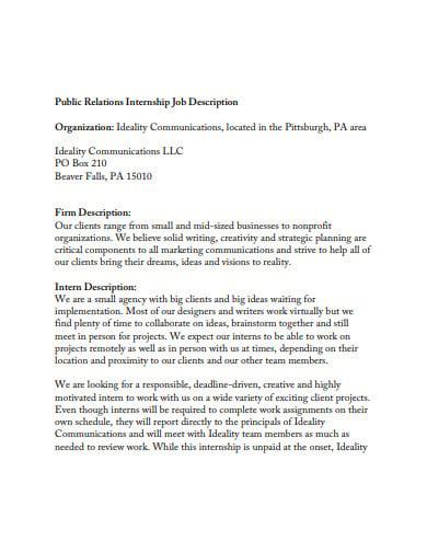 public internship job description
