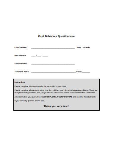 pupil behaviour questionnaire in pdf