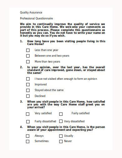 quality assurance professional questionnaire template