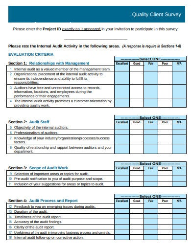 quality client survey form template