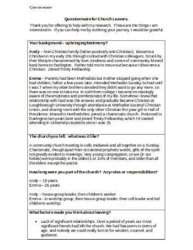 questionnaire for church leavers