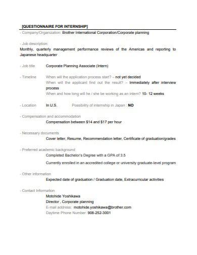 questionnaire for internship template