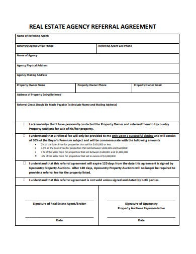 real estate agency referral agreement template